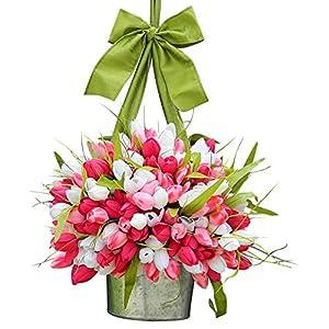Dsisskai Mother's Day Tulip Bucket Wreaths, Silk Tulip Wreath Garlands Front Door Ornaments Spring Door Forest Colorful Wreath, Tulip Artificial Flowers for Wreaths Mothers Day Wreaths Decorations (B)
