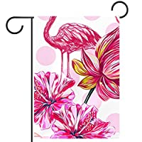 庭の旗芝生の装飾庭の装飾屋外の農家の装飾ホオジロ旗ピンクの花とフラミニゴ 両面バナー