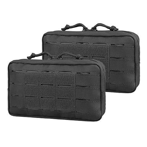 AMYIPO Equipment Multi-Purpose Tactical Molle Admin Pouch EDC Utility Tools Bag Utility Pouches Molle Attachment Military Modular Attachment Small Pouch (Black - 2pcs)