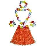 Fighting to Achieve Girl's Elastic Hawaiian Hula Dancer Grass Skirt with Flower Costume Set-Orange