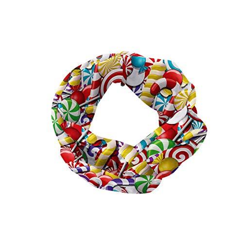 ABAKUHAUS Diadame bastón de caramelo, Banda Elástica y Suave para Mujer para Deportes y Uso Diario Bombones Lollipops Sugary Trata Sweeties Pila de colores para ocasiones, Multicolor