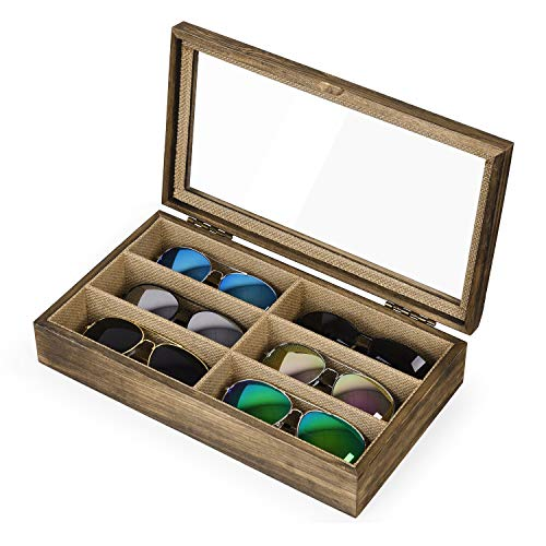 SRIWATANA Sunglasses Organizer for Women Men, 6 Slot Eyeglass Box Wood Case Glass Display Storage Eyewear Collector Tray with Glass Top, Carbonized Black