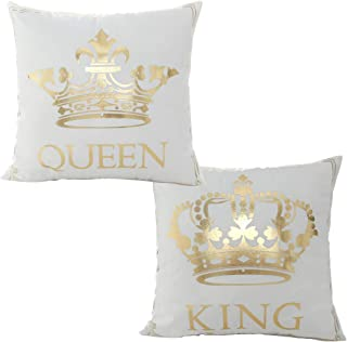 misaya Bronzing Flannelette Home Pillowcase 18x18 Decorative Cushion Cover Queen & King, Tiaras & Crown Gold Throw Pillow Covers Set of 2