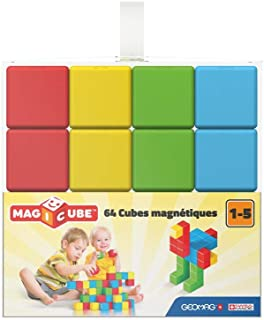 Geomag 149 Magicube Pre School - Magnetic Construction Cubes, 64 Pieces