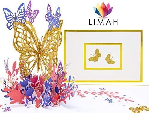 LIMAH® Premium Pop Up 3D Grußkarte in GOLD zur Hochzeit, Geburtstag, Muttertag oder zum Jahrestag, Hochzeitskarte, Geburtstagskarte mit einem großen Goldenen Schmetterling