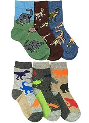 Jefferies Socks Boys Dinosaurs/Animals Pattern Crew Socks 6 Pair Pack (XS - USA Shoe 6-11 - Age 2-4 Years, Multi)