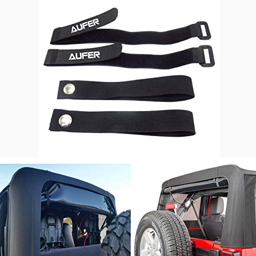 Upgrade Universal Soft Top Sunrider Straps and Window Roll Up Snap Straps, Especially for Jeep Wrangler 2007-up