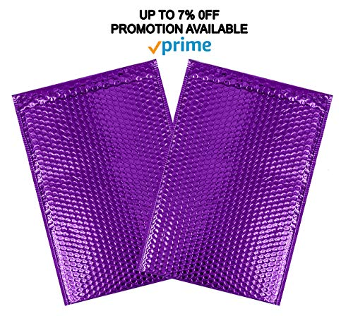 ABC 10 Pack Metallic Bubble mailers 6.5 x 10.5 DVD size. Purple padded envelopes 6 1/2 x 10 1/2. Glamour bubble mailers Peel and Seal. Padded mailing envelopes for shipping, packing, packaging Photo #7