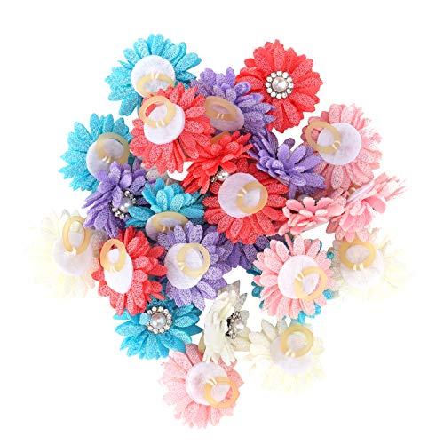 YIE 25pcs / Lot Lindo Mascota El Pelo Arcos Flores Arcos De Aseo con Bandas De Goma para Mascotas