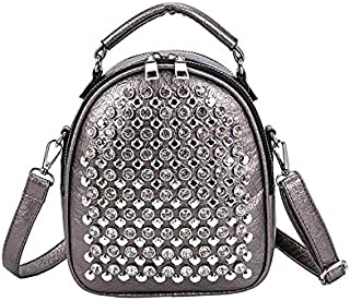 Mitao Backpack Handbags With Rivets Glitter Rhinestone For Women Ladies Fashion Leather Small Shoulder Backpacks