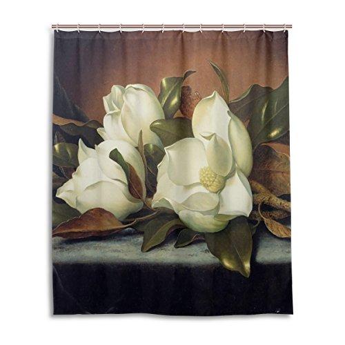 WEETIME Ethel Ernest Waterproof Bath Curtain Giant Magnolias Polyester Fabric Bathroom Shower Curtain 60 x 72 inch