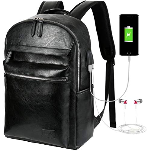 VBG VBIGER Leather Backpack for Mens Travel College Business Waterproof PU Leather Backpack for 15.6 inch Laptop with USB Charging Port and Headphone Port (Black)