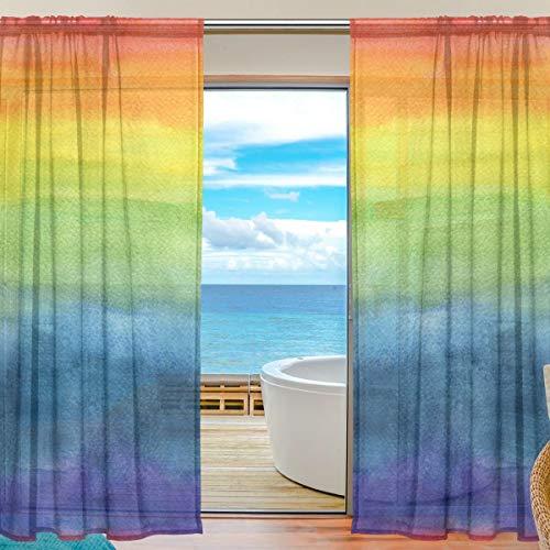 Bigjoke Vorhang für Fenster, Regenbogen-Motiv, für Küche, Wohnzimmer, Schlafzimmer, Büro, Voile, 2 Stück, multi, 55x84 inches
