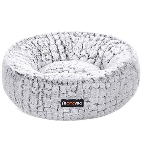 FEANDREA Hundebett, Katzenbett, rund, weicher Plüsch, 50 cm, weiß PGW056W01
