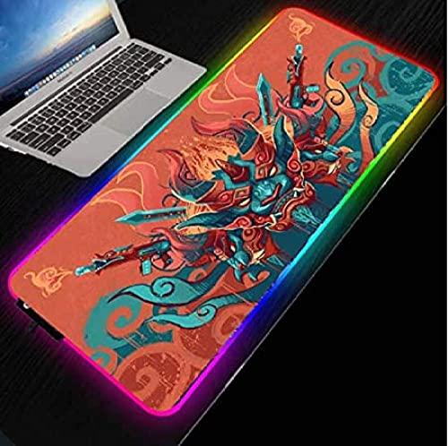BOIPEEI Alfombrillas de ratón Alfombrilla de ratón para Juegos con luz LED RGB Cubierta de Teclado Grande Alfombrilla de Escritorio para computadora Juego de PC XXL (30X80Cm