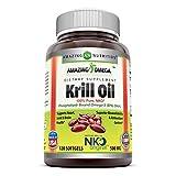 Amazing Omega Nko Neptune Krill Oil 500 Mg, 120 Softgels (Non-GMO,Gluten-Free)- Supports Heart, Joint & Brain Health and Superior bioavailability & antioxidant Content