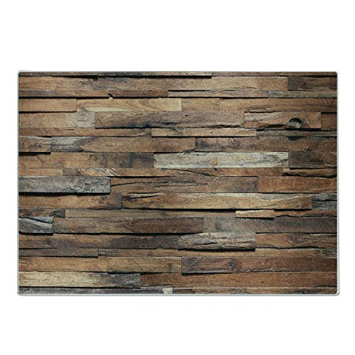 Lunarable Wooden Cutting Board Old Ruined Rustic Planks in Horizontal Order Construction Country House Picture Decorative Tempered Glass Cutting and Serving Board Large Size Cinnamon Umber