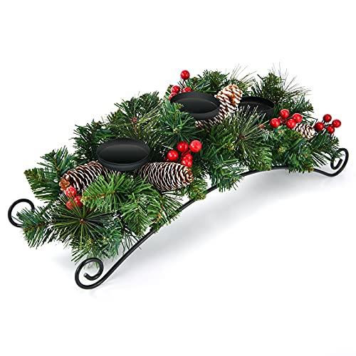 Porta candele natalizio da tavolo – Ghirlanda Centrotavola con pigne rosse e 3 portacandele per decorazioni natalizie per la casa