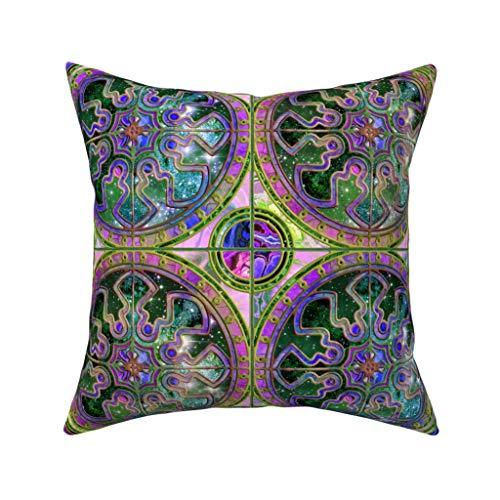 Bicolor Astrospace Spaanse Tegels Roze Emerald Turkoois Fluweel Zacht Kussen Cover Vierkant Decor
