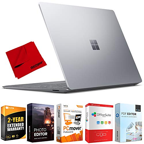 Microsoft V4C-00001 Surface Laptop 3 13.5 inch Touch Intel i5-1035G7 8GB/256GB Platinum Bundle with 2 Year Extended Warranty, Elite Suite 18 Standard Editing Software Bundle and Deco Gear Cloth