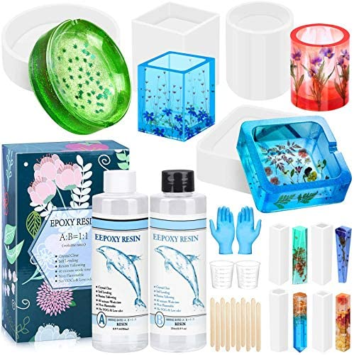 Silicone Resin Molds with Epoxy Resin Anezus Epoxy Resin Kit with 8 Pack Resin Molds Silicone product image