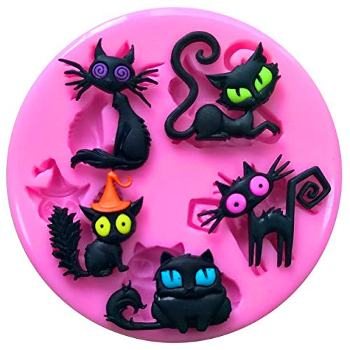 Fairie Blessings - Molde de silicona para decoración de pasteles, magdalenas, utensilios de azúcar, diseño de gatos, color negro