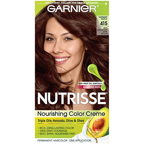 Garnier Nutrisse Nourishing Hair Color Creme, 415 Soft Mahogany Dark Brown (Raspberry Truffle) (Packaging May Vary)