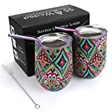 Wine Tumbler for Mothers Day Gift,2 Pack 12oz Stainless Steel Insulated Wine Glasses with Lid for Mom,Grandma,Wife,Unbreakable Stemless Wine Mug Cup for Champagne,Cocktail,Coffee,Drinks (Rhombus)
