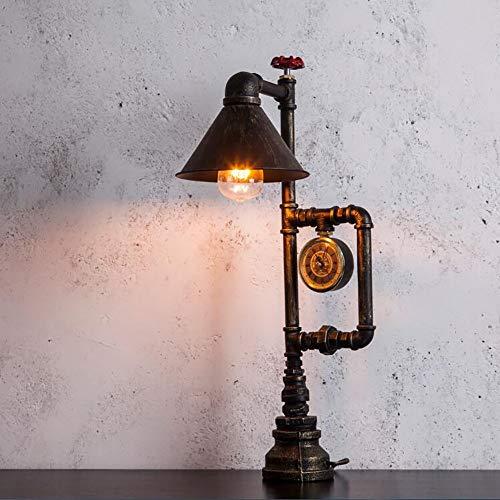 Hardworking bee Personalità europea retro illuminazione semplice vento industriale verde bronzo tubo di ferro oscuramento luce di notte lampada da tavolo lampada vernice ferro da stiro lampada da tavo