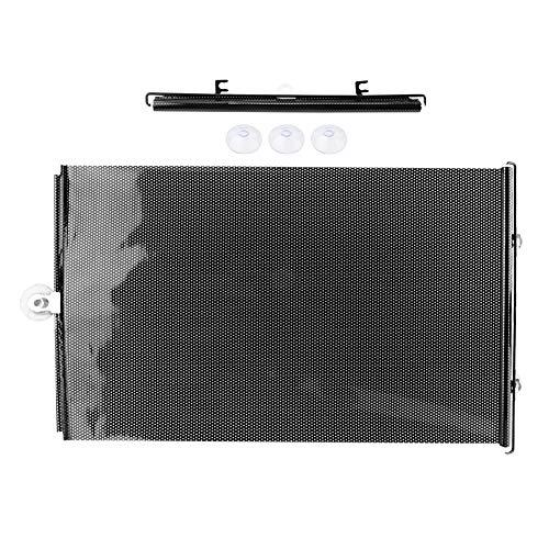 Solskyddsgardin för bil, PVC bil solskydd gardin 40 x 60 cm rullande solskydd skylt för sidofönster (svart)