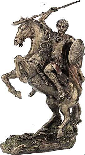 Alejandro Magno a Caballo Rey Guerrero Griego (Estatua/Escultura de Bronce Decorativa 31.5cm / 12.4 Pulgadas)