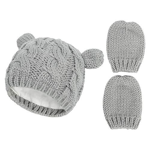 Manoplas de invierno conjunto de gorro para niños pequeños y niños, de punto grueso y cálido forro polar conjunto térmico para...
