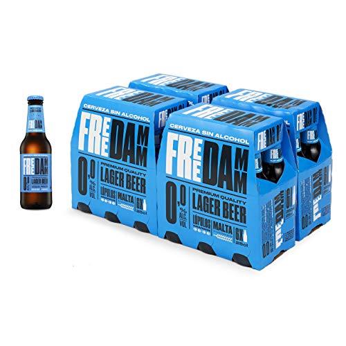 Damm - Cerveza Sin Alcohol 0,0 Free Damm, Caja de 24 Botellas 25cl | Cerveza 0,0 en Botellín, Sin Alcohol, con Todavía Más Sabor, Original, Muy Refrescante
