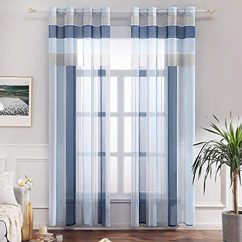 MIULEE Voile Vorhang Transparente Gardine aus Voile mit Ösen Schlaufenschal Ösenschals Transparent Fensterschal Wohnzimmer Schlafzimmer 2er Set 140x225 cm Himmelblau + Dunkelblau