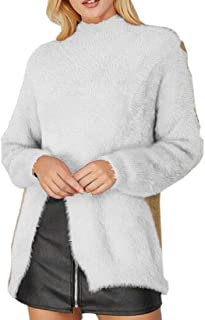 Women's Warm Round Neck Knit Tops Split Fuzzy Casual Pullover Sweaters
