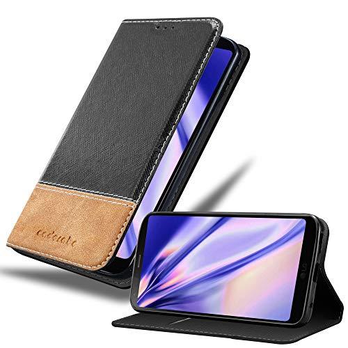 Cadorabo Hülle für LG G6 - Hülle in SCHWARZ BRAUN – Handyhülle mit Standfunktion & Kartenfach aus Einer Kunstlederkombi - Hülle Cover Schutzhülle Etui Tasche Book