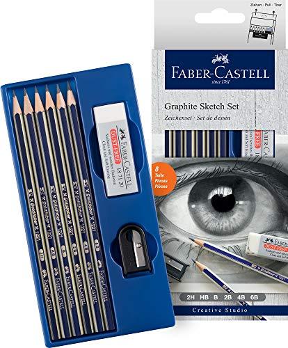 Set grafito Creative Studio con 6 lápices Goldfaber, 2H, HB, B, 2B, 4B, 6B + afilalápices y goma