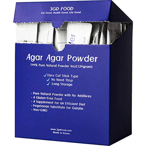 3GD FOOD Agar Agar Powder, Vegetable Gelatin, Dietary Fiber, Gluten-Free, Non-GMO [100% Natural Pure with No Additives, 4oz] (Stick Type 4oz)