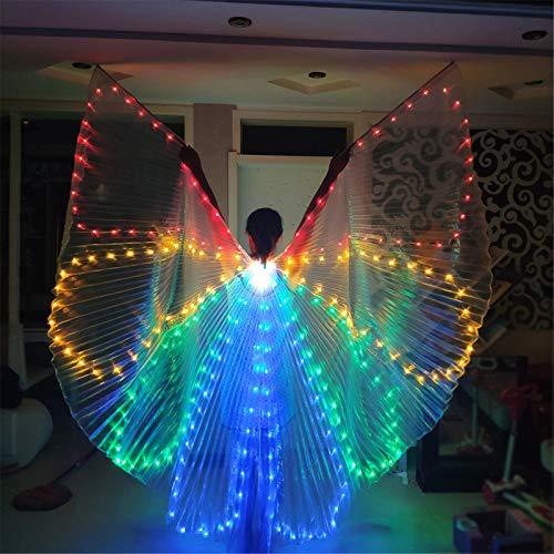 Alas De Danza Del Vientre LED Para Mujer, Colorido Disfraz De Danza Del Vientre, Alas De Isis, Alas De Mariposa Con Bolsa De Almacenamiento Porttil Para Actuaciones, Halloween, Escenario, Carnaval