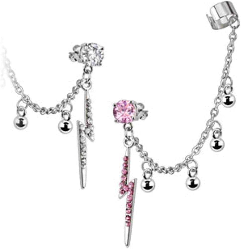 Covet Jewelry Stud Chain with Balls Earring with Gemmed Thunder Bolt Dangles with End Clip 316L Surgical Stainless Steel