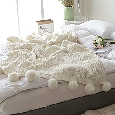 ZHIMIAN Acrylic Chenille Pompoms Fringe Throw Blanket 51 X63  Crochet,Super Soft