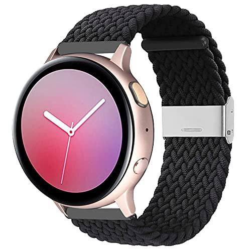 Zoholl Correa tejida de repuesto elástica compatible con Samsung Galaxy Watch Active 2, Samsung Galaxy Watch, Pulsera elástica ajustable de 20mm Cómoda banda para mujeres y hombres