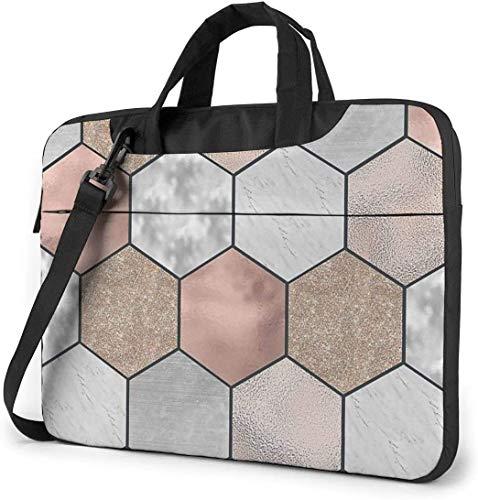 15.6 inch Laptop Shoulder Briefcase Messenger Rose Gold Marble Texture Geometry Tablet Bussiness Carrying Handbag Case Sleeve