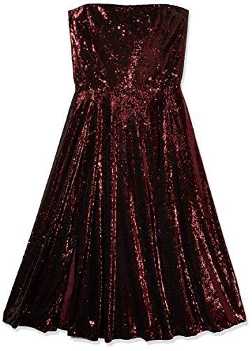Dress the Population Women's Ruby Strapless Fit & Flare Sequin Midi Dress, Port, L