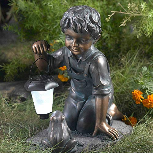 MISC Outdoor Solar Light Brown, Frog Garden Statue Lantern Shop Boy Sculpture All Weather for Lawn Yard Patio, Plastic Polyresin
