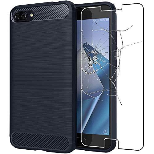 ebestStar - kompatibel mit Asus Zenfone 4 Max Hülle ZC520KL Kohlenstoff Design Schutzhülle, TPU Handyhülle Flex Silikon Hülle, Dunkelblau + Panzerglas Schutzfolie [Phone: 150.5 x 73.3 x 8.8mm, 5.2'']