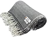 Handicraft Mart Himalayan Cashmere Throw,Natural Cashmere Blanket 54' x 108',Hand Made in Nepal… (Black)