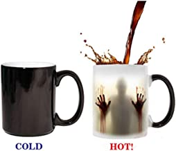 Momugs Fear The Walking Dead Coffee Mug Heat Sensitive Color Changing - See Painting Color with Hot Liquids - Reveal Magic Zombie Cups With Bloody Hands and Head Picture 12 OZ