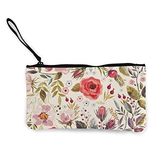 Lawenp Vintage Dibujado a Mano Floral portátil Mujer Lona Monedero Bolsas de Almacenamiento Carteras pequeñas Cremalleras cosméticos de Viaje
