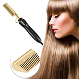 VENTDOUCE Electric Ceramic Heating Comb for Women Men, Multi-Temp Copper Hair Straightener Brush Multifunctional Straightening Heated Pressing Styler Comb for Natural Black Hair, Wigs, Beards